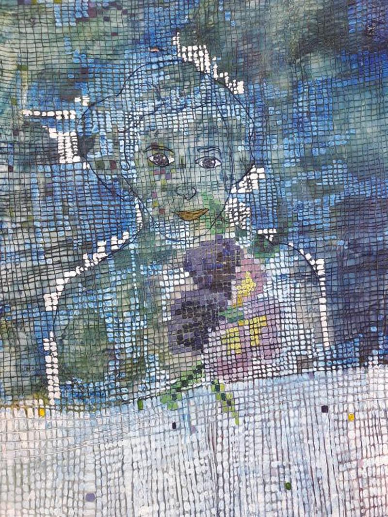 Portret 1 2018, 15 x 25 cm. Olieverf op papier en was