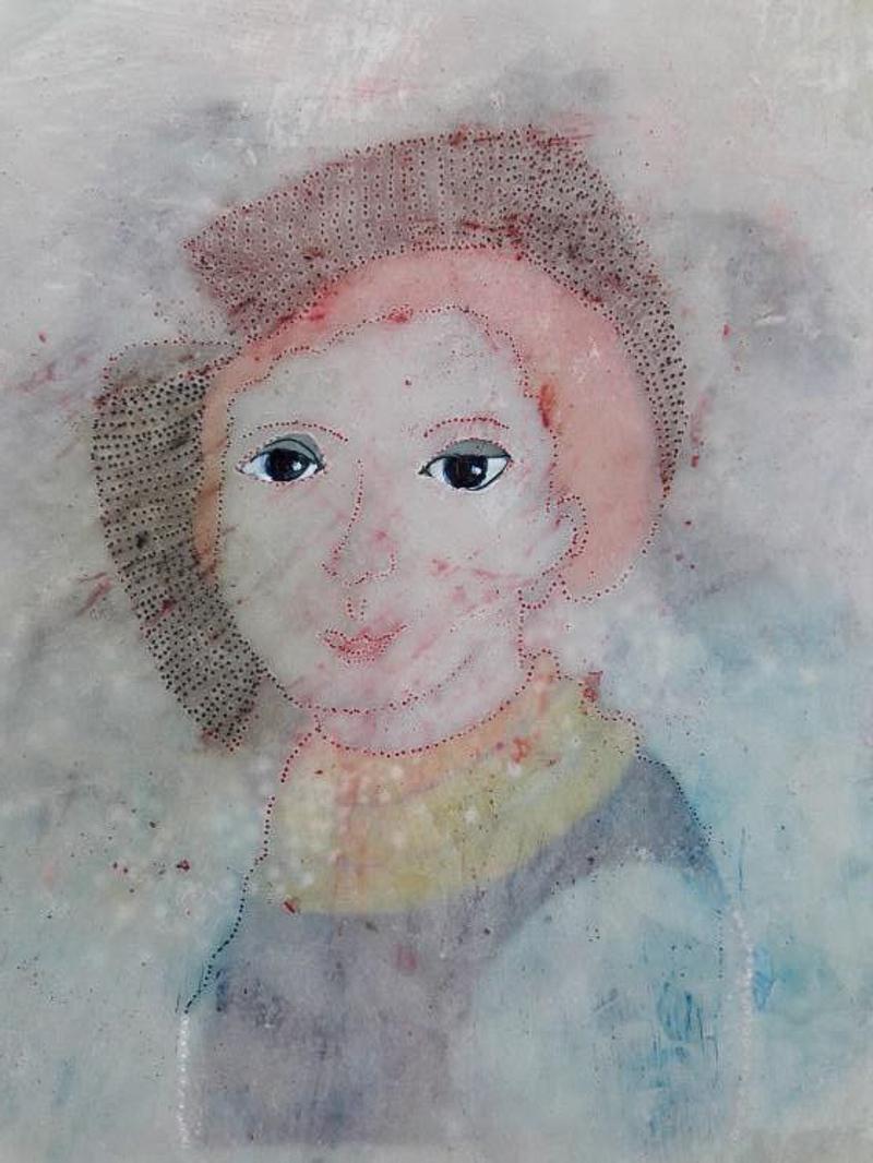 Portret 2018, 12 x 20 cm. Olieverf op papier en was